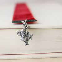Alice in Wonderland White Rabbit Red Velvet Bookmark Page Holder