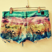 Cecilia. ombre. boho. tie dye. hippy. rocker. short shorts.