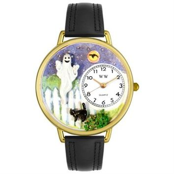 SheilaShrubs.com: Whimsical Unisex Halloween Ghost Black Skin Leather Watch DDDSD557870 by Whimsical Watches : Watches