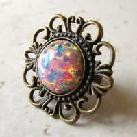 Opal Ring Statement Ring Cocktail Ring Cabachon Red Yellow Orange Antique Adjustable