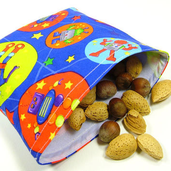 Eco-friendly Reusable Sandwich Bag - Space Robots Blue Green Lime Orange Red Party Favor Gift Kid Girl Boy Toddler Children - Sac sandwich