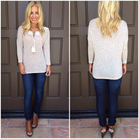 Milania Tie Front Sweater - OATMEAL