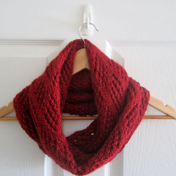 Red Infinity Scarf - Dark Red Scarf - Red Circle Scarf - Hand Knit Scarf - Soft Scarf - Knit Infinity Scarf - Soft Acrylic Scarf - Knitting