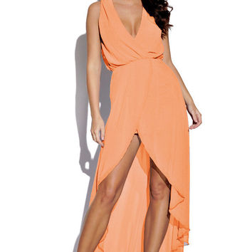 Peach Sleeveless High-Low Dress with Plunging Neckline