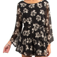 LUSH CLOTHING - ABSTRACT FLORAL ROMPER