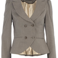 Grey stripe button jacket - Coats &amp; Jackets - Dorothy Perkins