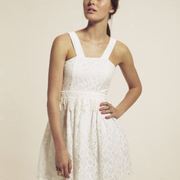Dahlia White Lace Sundress with Tassel Lace Band