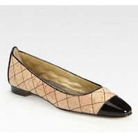 Manolo Blahnik Quilted Two-Tone Patent Leather-Trim Ballet Flats
