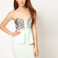 Lipsy Sequin Bust Peplum Dress at asos.com