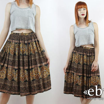 Vintage 90s Black Floral Paisley Knee Length Skirt L XL High Waist Skirt High Waisted Skirt Black Midi Skirt Paisley Skirt Floral Skirt