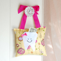 Girls Tooth Fairy Pillow In Pink An.. on Luulla