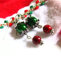 Red and Green Miracle Bead dangle Earrings