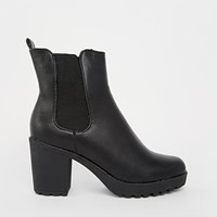 Truffle Tori Cleated Heeled Ankle Boots - Black