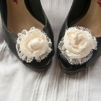 Flower shoe clips - wrapped vintage lace roses