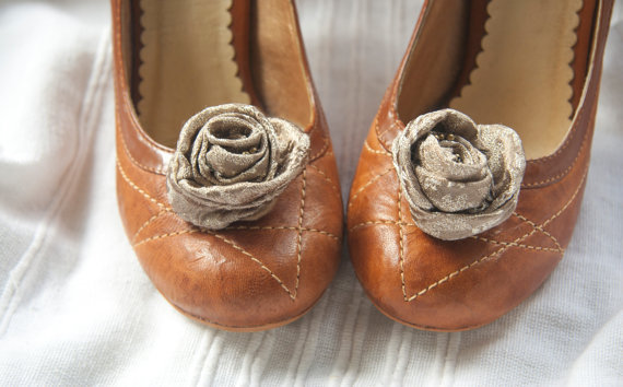 Rose shoe clips - wrapped golden brown designer fabric flowers