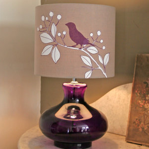 Hand Printed Bird Shade in Plum, Lighting, clocks, mirrors from Berry Red