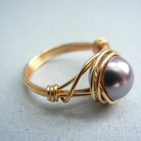 Swarovski Mauve Ring - Wire Wrapped Pearl - Custom Size Ring