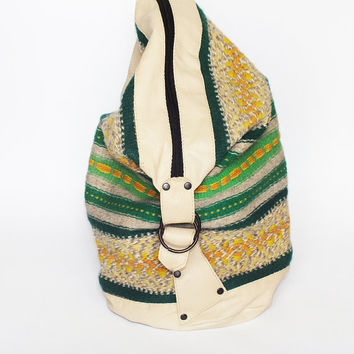 Handmade ladies backpack - beige leather and colorful handwoven part - tribal style