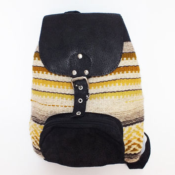 Ladies backpack - handwoven in Bulgaria - black leather