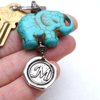 Initial Keychain, Lucky Elephant, Personalized Keychain, Monogram Keychain, Wax Seal, Turquoise Elephant, Gift for man, Good Luck Charm