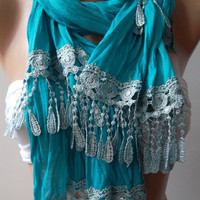Turquoise  Blue - and Elegance Shawl / Scarf......
