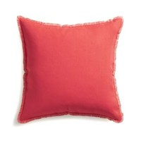 """Eyelash Coral and Natural 20"""" Pillow with Down-Alternative Insert"""