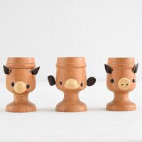 vintage animal faces egg cups