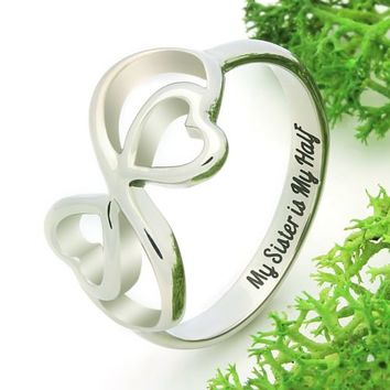"Heart Ring for Sister Double Infinity Ring, Promise Ring ""My Sister is My Half"""