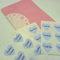 Pink Merchandise Bags Kit Lace doilies personalized blue lables Package of 18 DIY Kit