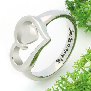 "Double Hear Sister Ring, Promise Ring ""My Sister is My Half"""