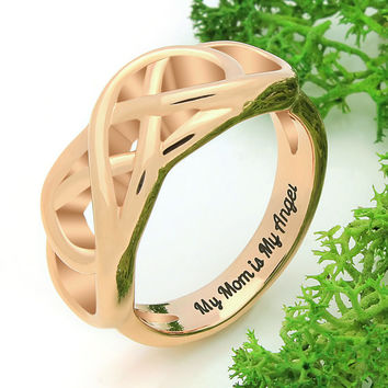 "Infinity Ring for Mom - Gold Mothers Ring Engraved on Inside with ""My Mom is My Angel"", Ring Sizes 6 to 9"