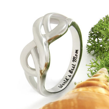 """Infinity Ring for Mom - Silver Mother Ring Engraved on Inside with """"World's Best Mom"""", Ring Sizes 6 to 9"""