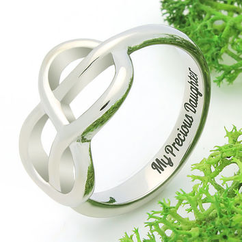 "Infinity Ring - Daughter Silver Ring Engraved on Inside with ""My Precious Daughter"", Ring Sizes 6 to 9"