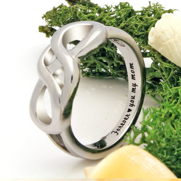 "Infinity Ring - Mother Silver Ring Engraved on Inside with ""Forever Love You My Mom"", Ring Sizes 6 to 9"