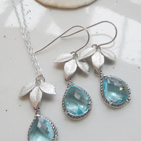 Silver Three Leaf Earring Necklace Set - Acquamarine Jewel Glass Teardrop Pendant - Mothers Day, Bridal Jewelry