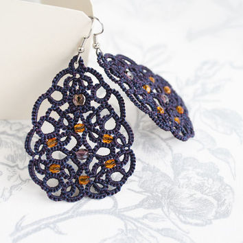 Purple lace earrings Terpsichore, purple earrings, tatted earrings, dangle earrings, long earrings, statement earrings, tatting jewelry.