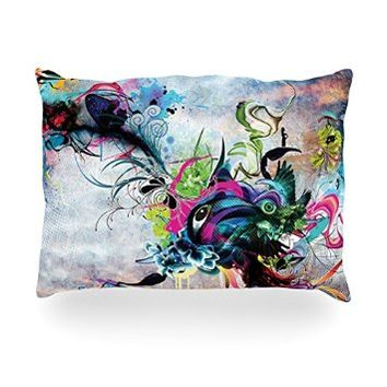 "Kess InHouse Mat Miller ""Streaming Eyes"" Multicolor AbstractOblong Rectangle Throw Pillow, 14 by 20-Inch"