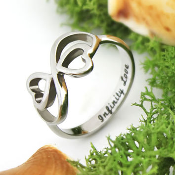 """Lovers Ring,Infinity Ring,Double Heart Promise Ring,Wedding Ring """"Infinity Love"""""""