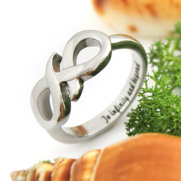 """Infinity Symbol Ring Secret Message """"To Infinity and Beyond"""" Ring With Engraving"""