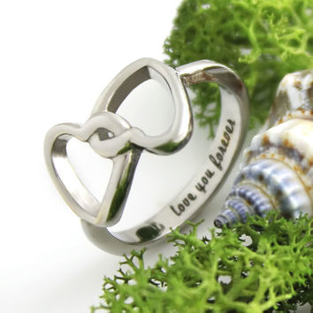 """Infinity Hearts Ring Love Ring """"Love You Forever"""" Engraved on Inside"""