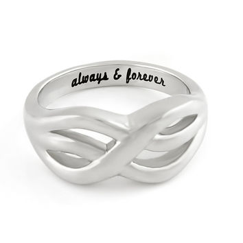 """Infinity Ring -  Double Infinity Symbol Ring Engraved on Inside with """"Always&Forever"""", Sizes 6 to 9"""