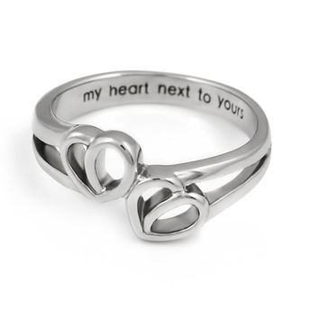 """Double Hearts Ring - Love Ring Engraved on Inside with """"My Heart Next to Yours"""", Sizes 6 to 9"""