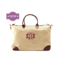 Longchamp Inspired Extra Large Jute Weekender Carry On Bag With Shoulder Strap Free Monogramming Discounts Start With Purchase of 6