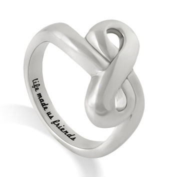 "Infinity Bff Ring - Friend Ring Engraved on Inside with ""Life Made Us Friends"", Sizes 6 to 9"