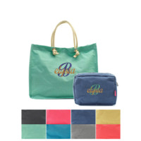 Two Piece Monogrammed Jumbo Tote and Large Cosmetic Bag Set Mix or Match Your Colors