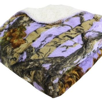 """REGAL 50"""" x 70"""" Sherpa Luxury Throw Blanket - The Woods' Lavender Camo"""