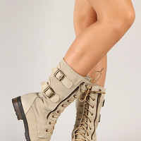 Riskey Zipper Round Toe Lace Up Military Boot