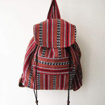 ethnic rucksack, boho backpack,tribal backpack, aztec school bag, native american bag, hipster backpack,shoulder bag