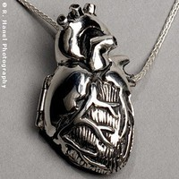ShanaLogic.com - 100% Handmade & Independent Design! Silver Anatomical Heart Locket - Jewelry - Girls