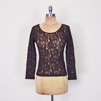 Dark Brown Lace Top Sheer Lace Shirt 90s Lace Blouse Stretch Lace 90s Top 90s Shirt 90s Grunge Top Grunge Shirt Womens XS Extra Small S